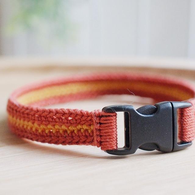 赤い首輪のバックル部分のアップ。