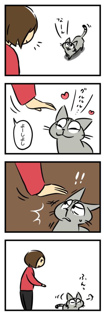 猫漫画 飼い主の手についたみかんのにおいを嫌う猫(1)