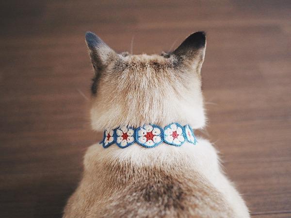 アフリカンフラワーモチーフの猫首輪