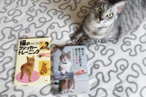 猫のクリッカートレーニングの本とサバトラ猫